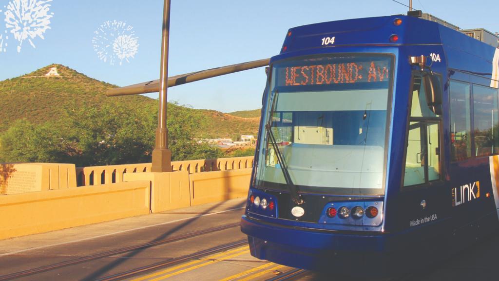 """The Sun Lin streetcar passes """"A"""" Mountain"""