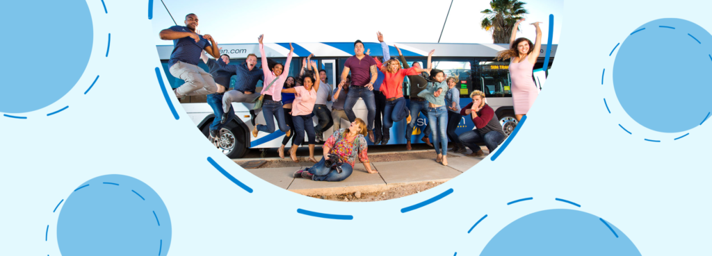 A light blue box features a picture of people jumping for joy in front of a bus. Four blue circles with a dotted outline are spaced out next to the picture.
