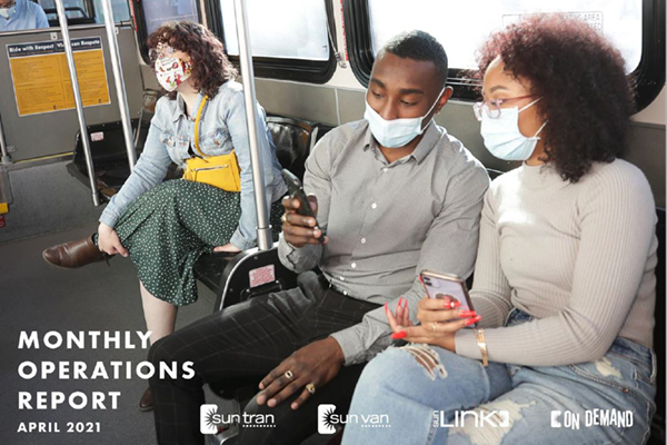 report cover of masked riders sitting on a bus looking at a phone together