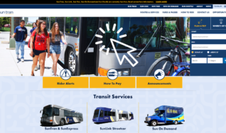 This is a screenshot of the suntran.com home page. It shows the cover image of students getting off a Sun Tran bus and features of the web site.