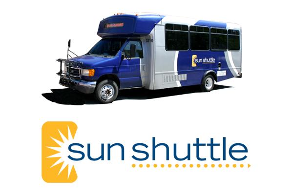 sun shuttle vehicle and logo