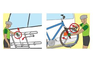 illustration of loading and unloading a bike