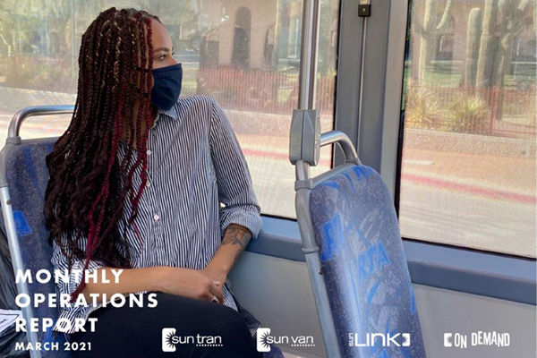 report cover of a masked person sitting on a bus looking out the window